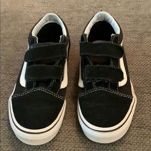 Vans Black & White Suede Velcro Sneakers size 1.5